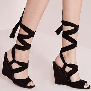 Lace up wedge sandals